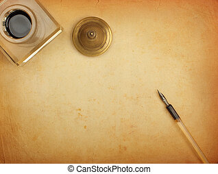 papper, reservoarpenna, bläckhorn, gammal