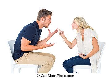 par, argumentera, stol, ung, sittande