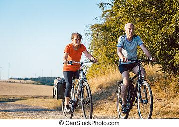 par, bättre, deras, bicycles, fitness, ridande, senior