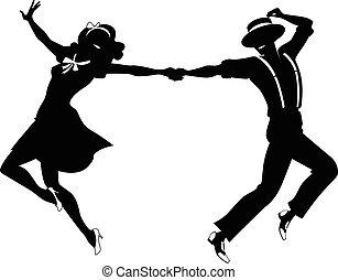 par, silhuett, dansande