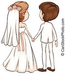 par, skiss, enkel, nyligen, gifta sig