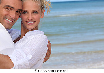 par, strand, lycklig