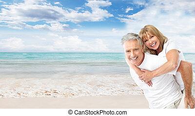 par, strand., senior, lycklig