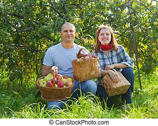 par, trädgård, lycklig