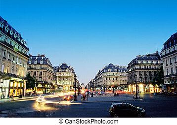 paris, centrera, natt