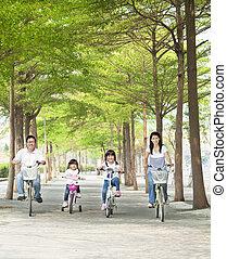 parkera, lycklig, cykel, familj, ridande