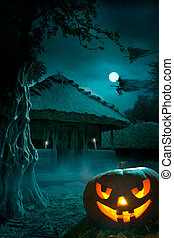 parti, halloween, bakgrund, natt