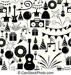 parti, icon., seamless, fond mönstra