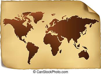 pattern., karta, värld, årgång