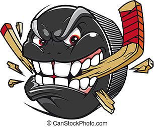 paus, puck, hockey klibbar