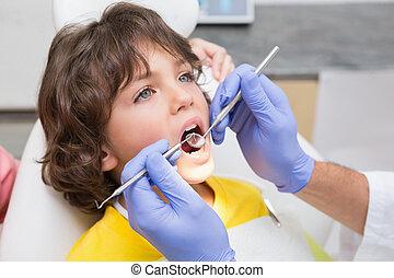 pediatrisk, undersöka, tandläkare