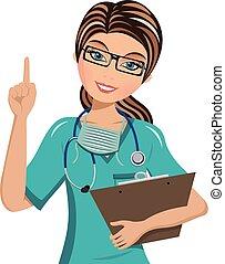 pekande fingra, isolerat, uppe, läkare, kvinna