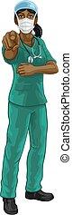 pekande, skura, sköta, kvinna, eller, likformig, läkare