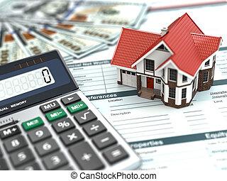pengar, hus, document., calculator., inteckna