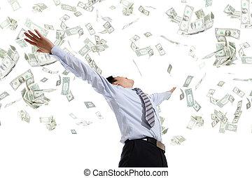 pengar, kram, affärsman