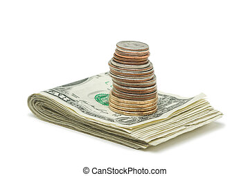 pengar, mynter, stack, &
