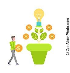 pengar valuta, träd, vektor, tillväxt, investera, man