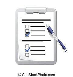 penna, skrivplatta, lista, kontroll