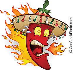 peppar, tecken, het chili, tecknad film
