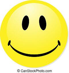 perfekt, badge., smiley, gul, knapp, vektor, ikon, blandning, shadow., emoticon.