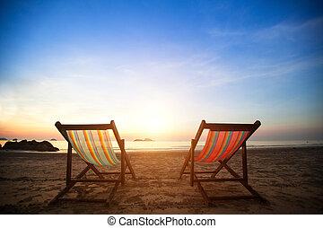 perfekt, concept., lättingar, semester, kust, folktom, hav, par, soluppgång, strand