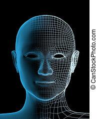 person, huvud, transparent