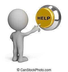 person, knapp, tränga, hjälp, 3