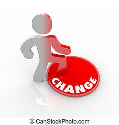 person, knapp, upp på, stig, ändring