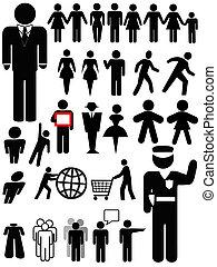 person, symbol, sätta, silhuett