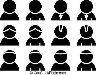 person, vektor, svart, ikonen