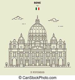 peters, italy., rom, gränsmärke, basilika, ikon, st.