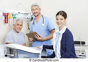 physiotherapists, klinik, tålmodig, le, rehab