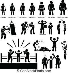 pictogram, boxare, boxning, figur, käpp