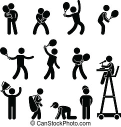 pictogram, spelare, domare, tennis, ikon