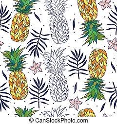 pineapples., graphics., tropisk, mönster, seamless, vektor