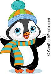 pingvin, vinter, söt