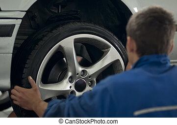 placera, bil mekaniker, däck