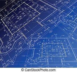 plan., hus, vektor, blåkopia