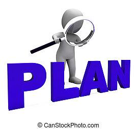 planer, objektiv, tecken, planerande, plan, uppläggning, visar
