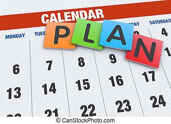 planerande, begrepp, kalender