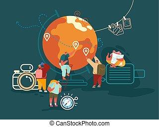 planerande, sommar ferier, folk, turism, tecken, kvinna, illustration., resa, resa, äventyr, vektor, begrepp, utomlands, backpacking, man, lägenhet, tecknad film
