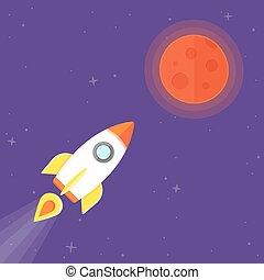 planet, raket, mars
