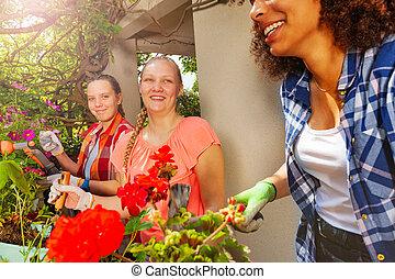 plantande, sommar, flickor, terrassera, blomningen, lycklig