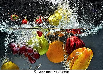 plaska, rå frukt, vatten