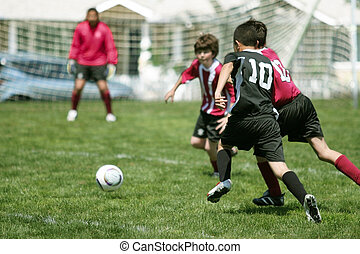 pojkar, fotboll, leka