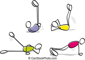 pojkar, rolig, fitness