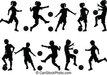 pojkar, silhouettes, fotboll, flickor, lurar