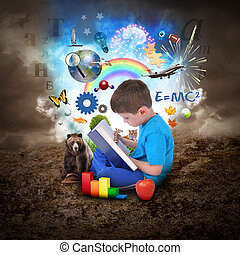 pojke, bok, utbildning, läsning, objekt