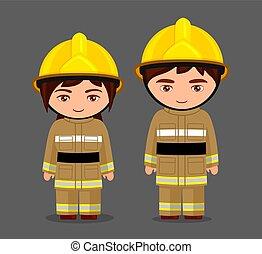 pojke, litet, fireman., firefighter., flicka, uniform.