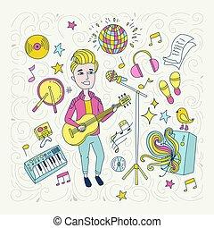 pojke, sångare, concept., yrke, illustration, handdrawn